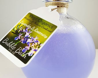 Lavender and Rosemary Bubble Bath! / Gluten Free / Organic /  Headache Relief ~ Aromatherapy / Healthy Bubbles!