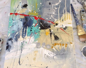 "Abstract canvas, abstract art, Canvas, abstract art, Contemporary art, Urban art, 16 '' x 20 '' x 0, 75 ""made in Quebec, rectangle"