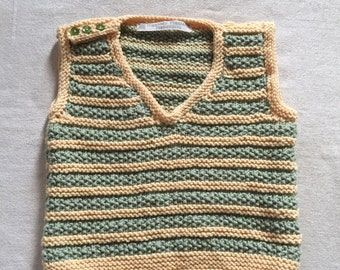 Baby boy's hand knitted, green and yellow striped wool tank top, (12 months)