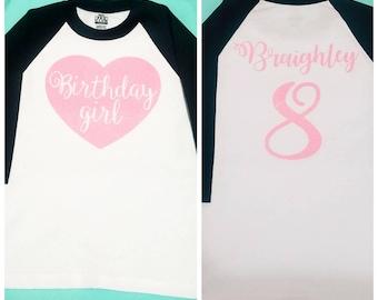 Birthday Girl Shirt / Girl Birthday Shirt / Kids Birthday Shirt / Custom Colors / Custom Name Age / Glittery Birthday Shirt