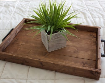 Rustic wooden ottoman tray, Wooden tray, Wedding gift, Breakfast tray, Coffee table tray, Home decor