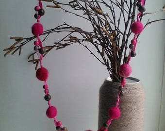 Felted PINK Beads, Felted Necklace, Felted Accessory, Gifts for Her, Needle Felted Beads, PINK Neclace, pink Beads