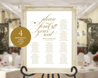 Gold Wedding seating chart, printable seating chart, Seating Chart Template, engagement seating chart, Find your seat sign, WPC_506