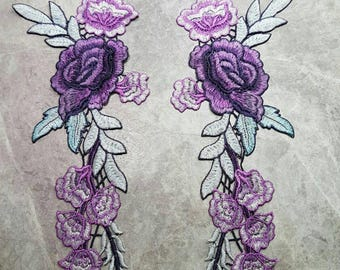 1 PAIR of Purple English Rose Embroided Sew on patches Applique