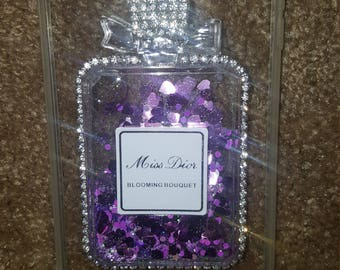 Liquid phone case iphone 7 purple bling hearts