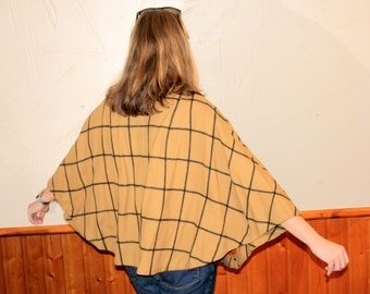 SALE Vintage Women's Sweater Poncho - Tan, Rectangular Geometric Pattern - High Fashion, Mod