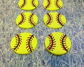 Fondant Softball Cupcake Toppers - Sports Cake Toppers - Girls Softball Party