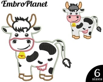 Cute Cow Applique - Design for Embroidery Machine Instant Download Digital Graphic Stitch 4x4 5x7 inch hoop File farm animal cartoon 484e