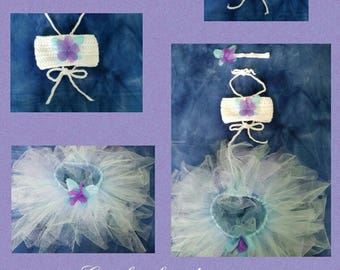 Infant Girls' Crochet Bandeau Top, Tutu & Headband