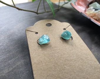 SOLD OUT // Raw Blue Apatite Studs