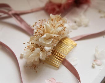 Champagne Colour Preserved Flower Hair Comb