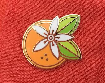 Orange Enamel Pin - Art Deco Brooch - retro - Art Deco Jewelry - California - Florida - Fruit Jewelry