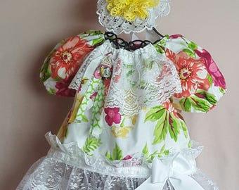 Vintage Flowery Peasant Dress