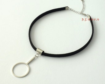 Choker necklace collar elegant black silver