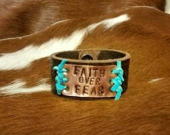 Faith over Fear leather bracelet