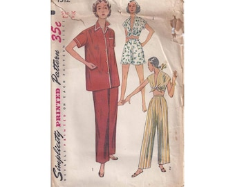 1950s Simplicity 4312 Misses Two-Piece Pajamas Vintage Pattern Size 16