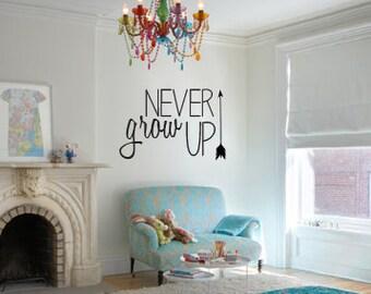 Never Grow Up vinyl children's room wall art wall decal