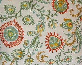 Home Decor Fabric by the Yard, Sage, Persimmon, Mustard, Ivory