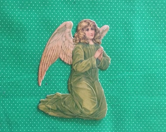Christmas Angel Ephemera- Vintage, Very Old, Embossed, Printed in Germany, Angel in Green Dress with Wings from Nativity. Can Use for Crafts