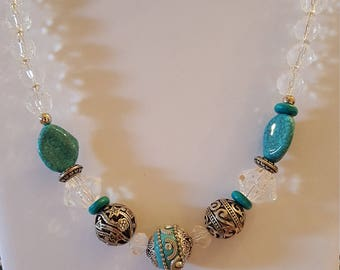 Turquoise, silver, and clear beaded necklace