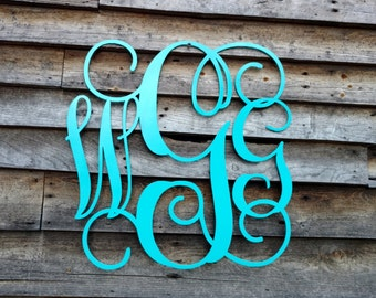 Metal monogram wall art