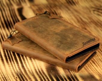 Personalized SONY Xperia Z5 Premium Wallet Case - Handmade Genuine Leather