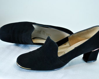 60s Mod Suede Loafers Sz 8 - Front Row | 60s Leather Loafers | 1960s Mod Heels | Sz 8 N