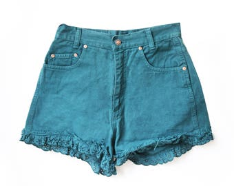 Green Lace Frayed High Waisted