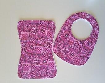 Bib and burp cloth set, 100% cotton fabric top, microfibre sports toweling, ultra absorbent