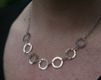 Handmade Hammered Silver Wire Ring Necklace II