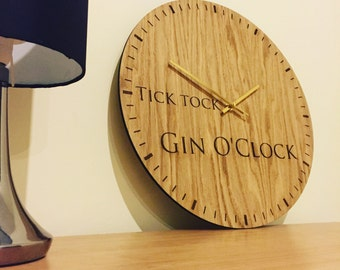 Tick tock gin o'clock large wall clock unique gin gifts
