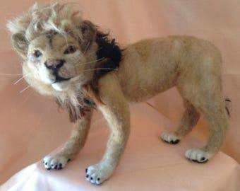 Posable Needle-Felted Lion