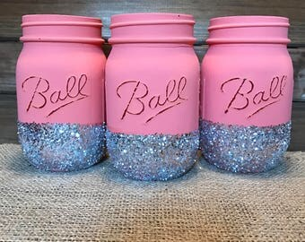 Coral Mason jars, Hot Coral Pink Mason jars, Coral and silver decor, Glitter dipped Mason jars, Summer home decor, Dorm decor