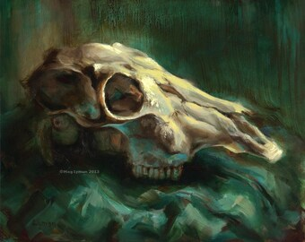 Cervid I - Original Oil on Panel Skull Painting Still Life