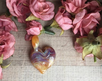 Multi-Color Heart Pendant // Jewelry Pendant // Stripped Pendant // Glass Jewelry // Colored Pendant / Gifts for her