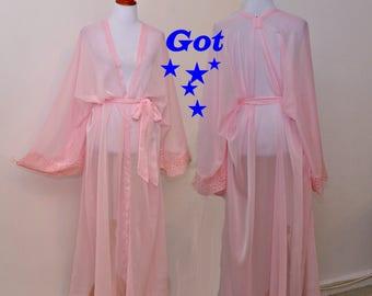 Pink long robe, maxi long kimono, sheer rose cardigan, honeymoon robe, Intimate kimono, pink cardigan, lingerie cover up, sexy bride robe