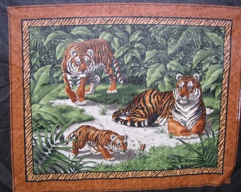 "Fabric Panel Big Cats Tiger Jungle 46"" x 35"" Green Brown Craft Quilting Giant (defect in dye)"
