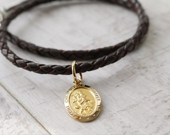 Oval Gold Saint Christopher Necklace - Personalised Religious Gift