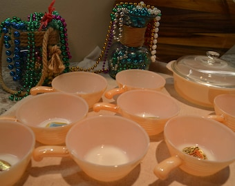 Vintage Never Used Anchor Hocking Copper Tint Ovenware Casserole Dish & 8 Chili Bowls
