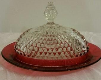 Indiana Glass Company Ruby Flash Diamond Point Butter Dish
