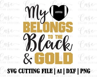 Football Black and Gold SVG Cutting File, Ai, Dxf and Printable PNG | Instant Download | Cricut and Silhouette | Black and Gold