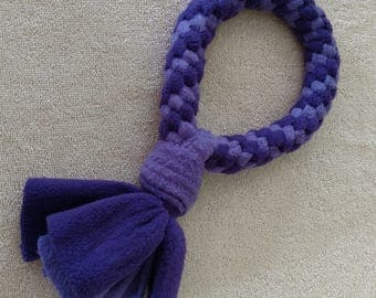 Fleece dog toy-dog tug toy-in purple and light purple fabric