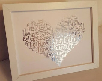 Personalised Framed A5 Foil Print Word Art Heart
