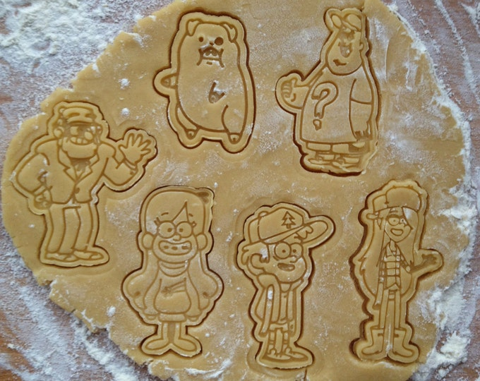 Gravity Falls cookie cutters set. 6 cookie stamps in set. Gravity Falls cookies