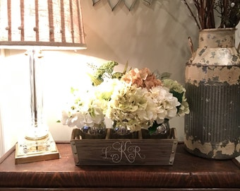Rustic Monogrammed Wooden planter with 3 Silver Mason Jars with Faux Hydrangeas