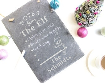 Personalized Slate Sign, Hanging Slate Board, Notes From The Elf Engraved Slate Sign, Custom Slate Sign, Christmas Gift, Holiday Gift