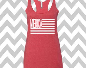Merica Flag Tank Top USA Tank Top Stars Tank Top Country Music Tank Top Stars and Stripes America Flag Tank Top Country 4th Of July Shirt