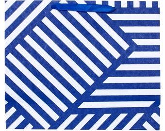 Gift Bag Geometric ZigZag Navy and White