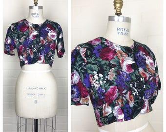 Vintage 90's  floral  crop top / shrug / bolero / button front / medium