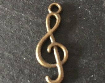 6, treble clef charms, metal charms, antique bronze charms, music note charms, jewellery making, metal charms, music lover charms, uk charms